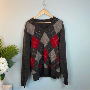 J. Crew Argyle Lambswool V- Neck Sweater